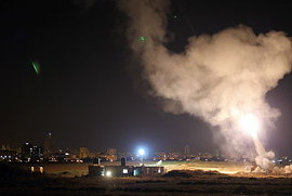 Iron Dome system intercepts Gaza rockets in central Israel, 8 July 2014.  Source:  Israel Defense Forces from Israel